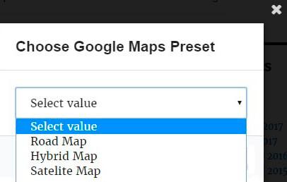 Choose Maps preset