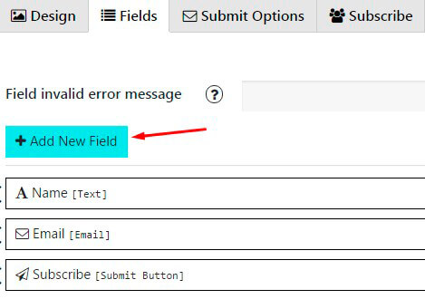 Contact Form Fields tab