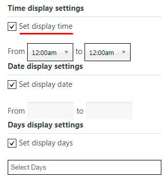 Popup Time display settings