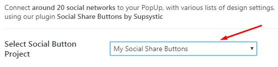 Select Social Buttons on Popup