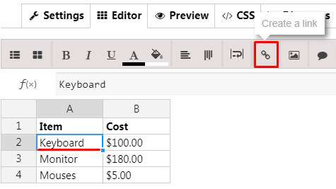 Data Table Create a link button