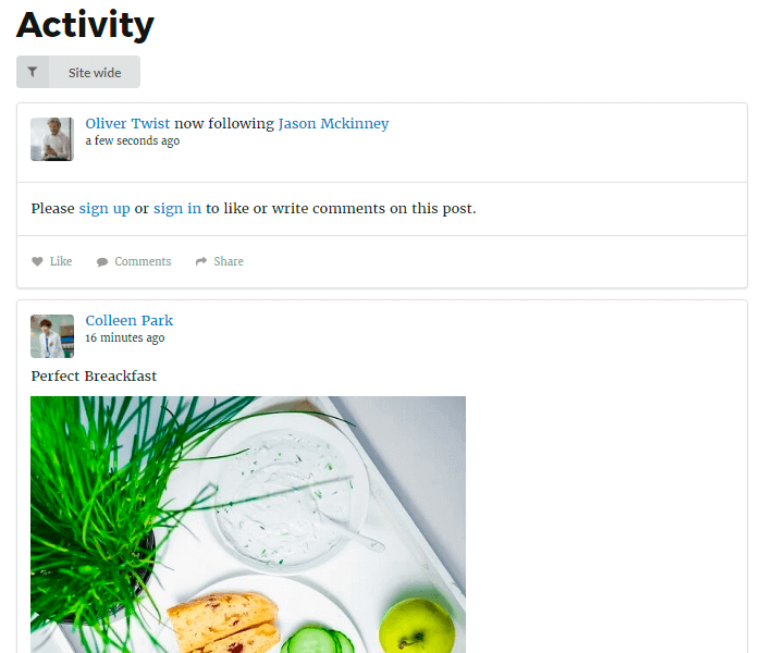 Membership Page With Activity