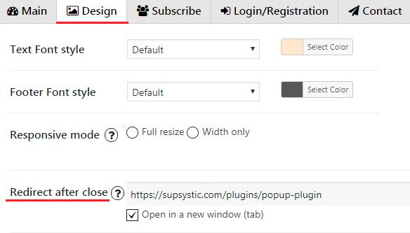 Redirect after close WordPress popup plugin