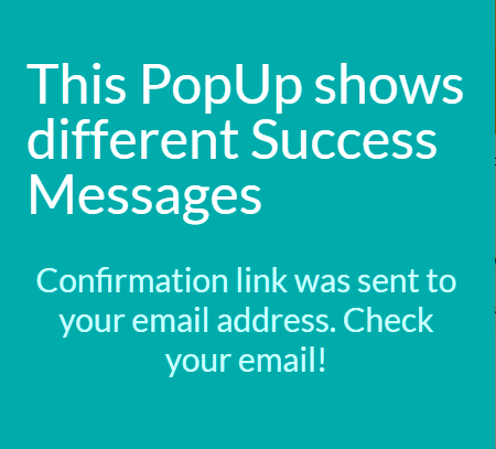 Subscribe success message Popup edited