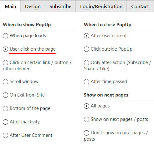 Show WordPress Popup when User Clicks on the Page