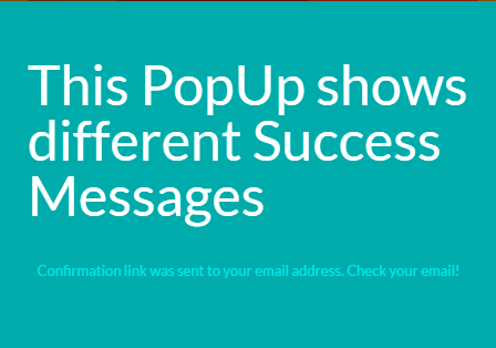 Subscribe success message Popup