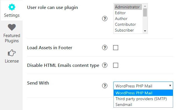 Contact Form Settings tab
