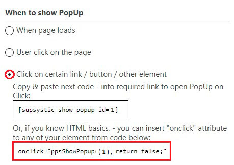 When to show Popup tab