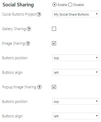Supsystic Photo Gallery Sharing Option