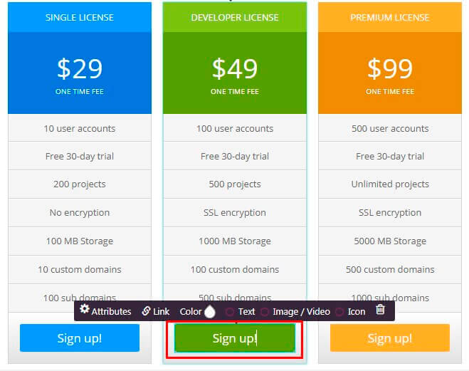 Pricing Table Button