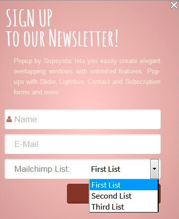 MailChimp List of Supsystic Popup