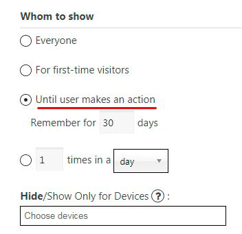 Until user makes an action (Subscribe / Share / Like) Popup
