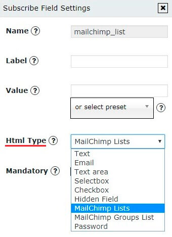 Subscribe Field Settings for MailChimp List