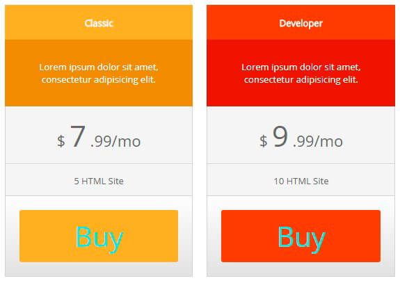 Pricing Table with CSS changes