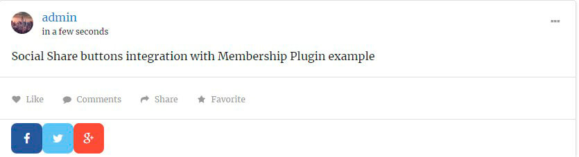 Social Share buttons integration with Membership Plugin example