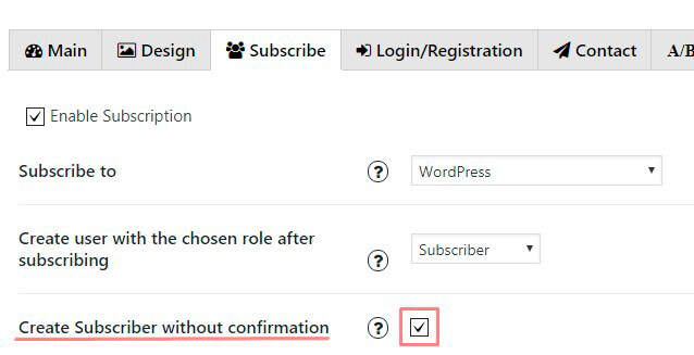 Create Subscriber without confirmation Option