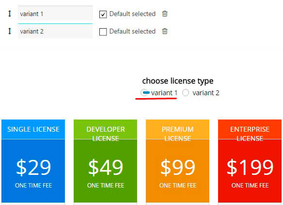 Switching Toggle Option of the Pricing Table plugin
