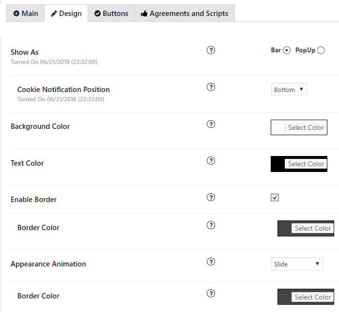 Plugin design tab