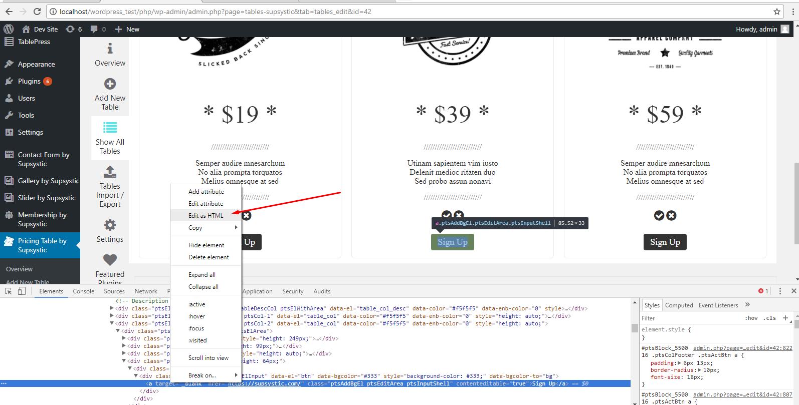 edit html button