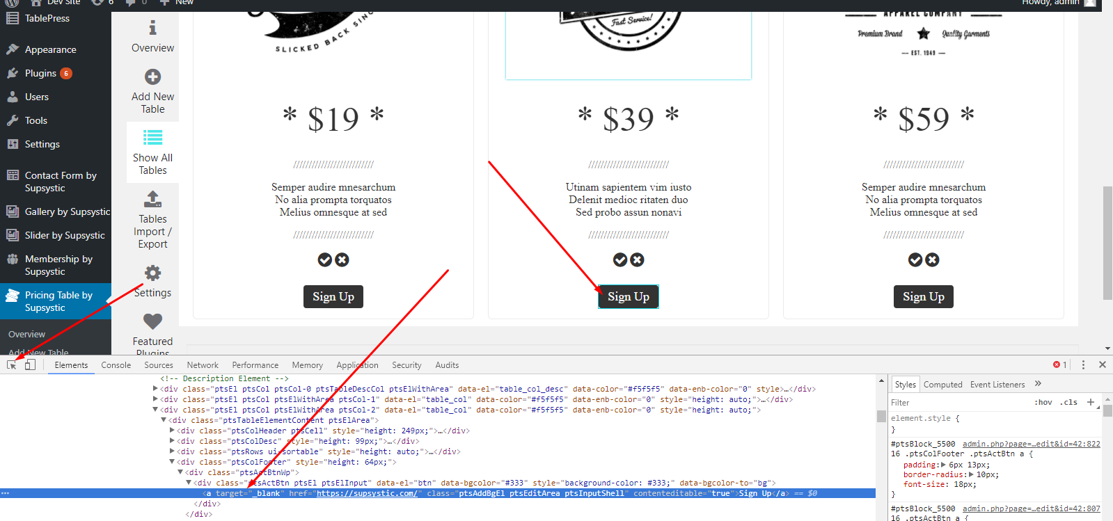 pricing table code in console