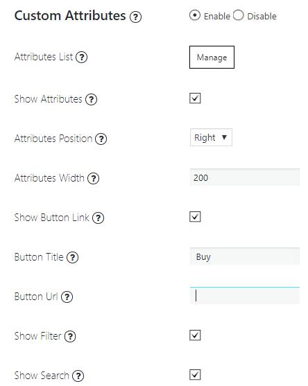 Attributes List settings