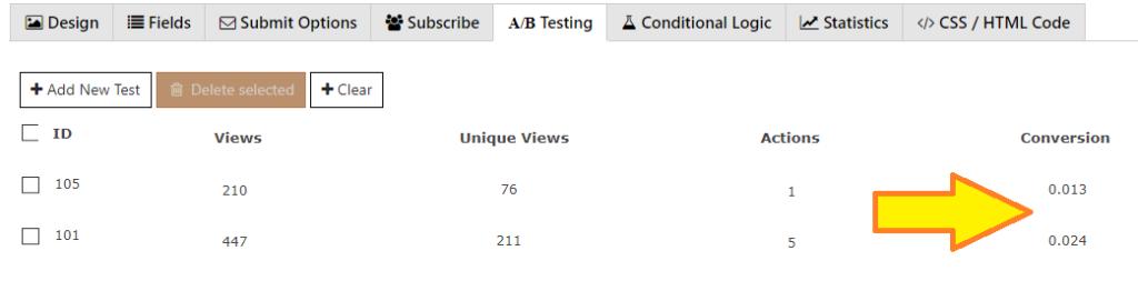 A_B split testing feature