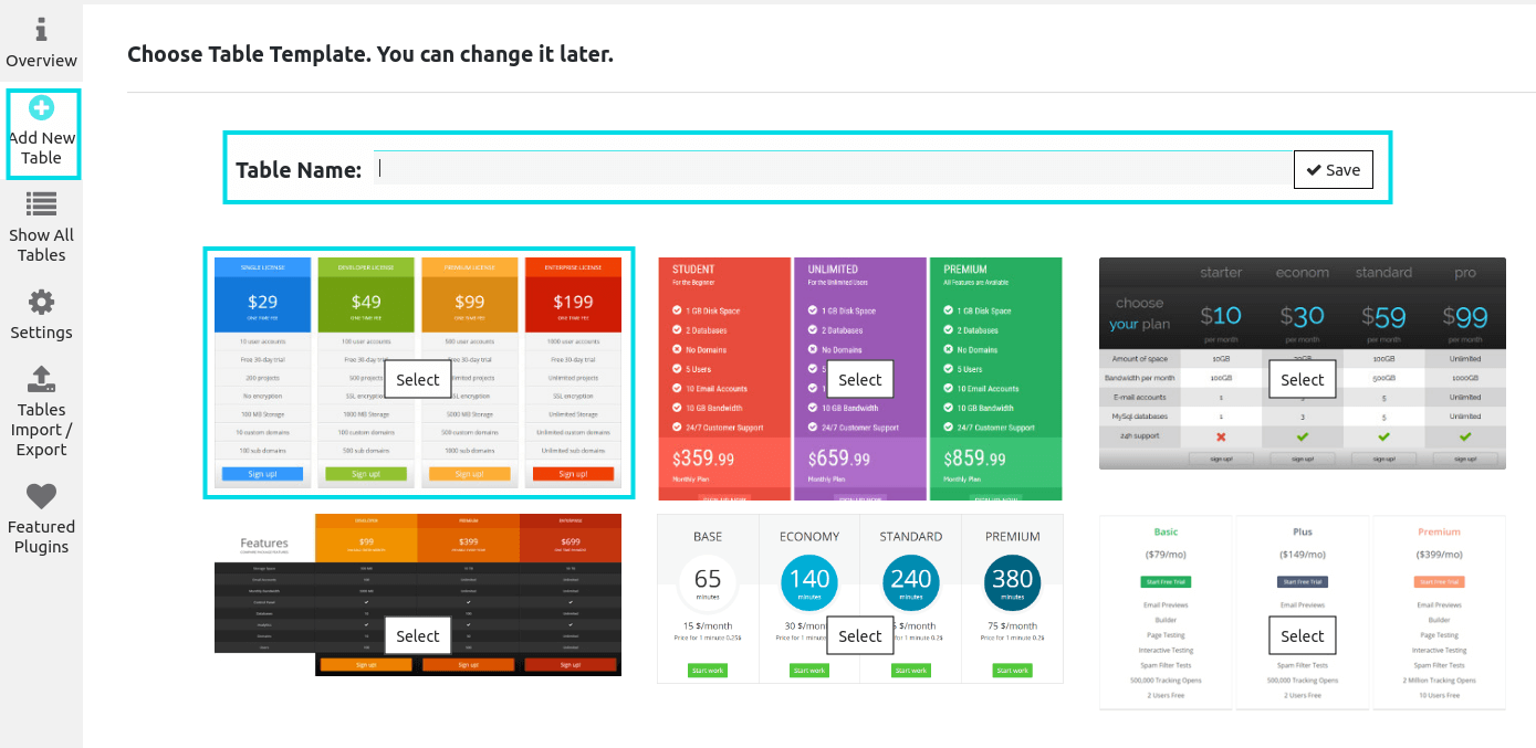 create a pricing table