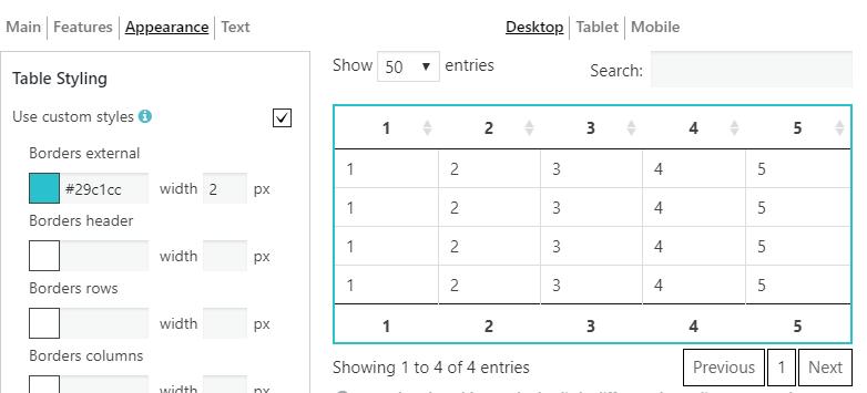 Custom Table Styles Borders external style